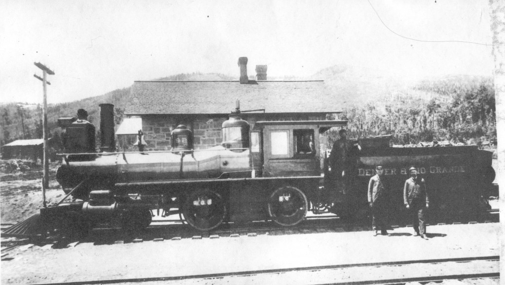 D&RG Locomotive in front of 1877 Depot
